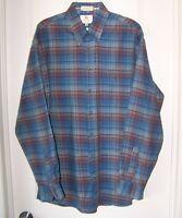 Men's Casual VIYELLA Plaid 80% Cotton 20% Wool Blue Shirt Sz. L Made in Canada