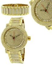 NEW-BLING MASTER SET GOLD TONE S/STEEL PAVE CRYSTALS COVERED DIAL WATCH+BRACELET