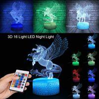 3D Unicorn Lamp LED Night Visual Illusion 7 Colouring Touch Kids Bedroom UK