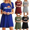 New Women Ellesse Print Short Sleeve Baggy Oversized Long T-Shirt Dress Mini Top