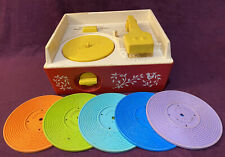 VINTAGE 1971 FISHER-PRICE MUSIC BOX RECORD PLAYER #995 Complete 5 RECORDS Works!