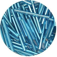 Czech Glass Bugle Beads 25mm ( 1 inch ) Aqua Silver Lined