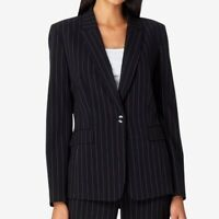 Tahari Asl Pinstriped Single-Button Blazer, Black, Size: 4