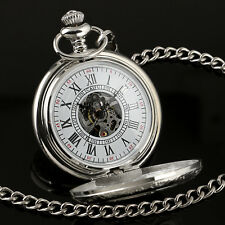 Silver Case Half Hunter Pocket Watch Mechanical Roman Numerals Chain White Dial
