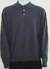 Men's Oliver Perry Polo Sweater XL 100% Cashmere Long Sleeve Pullover Gray