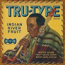 "RARE OLD ORIGINAL 1931 ""TRU-TYPE BRAND"" CITRUS BOX LABEL WINTER HAVEN FLORIDA"