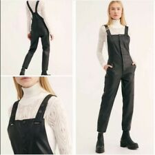 Nwot Free People Women's Overalls Vegan Leather Black Size 0