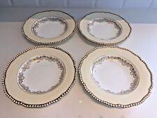 Antiguo Coalport China Platos Tazones de Sopa Crema Art Nouveau Dorada Esmalte Dorado X4