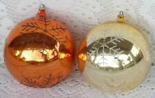 2 Vintage Large Glass Christmas Tree Ornaments Mica Austria Gold Copper Tone