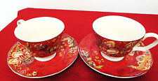 222 Fifth Red Gabrielle Set of Two Tea/Coffee Cups & Saucers