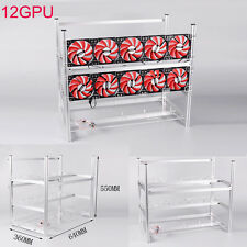 Aluminum Open Air Mining Rig Stackable Frame Case Holder For 12 GPU ETH Ethereum