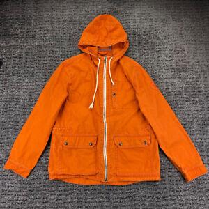 American Eagle Mens Size Medium Full Zip Hooded Orange Field Jacket 100% Cotton