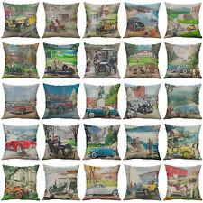 """18"""" Vintage Car Linen Cotton Pillowcase Throw Cushion Cover Home Decor"""