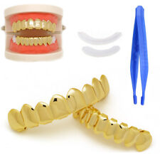 14k Grillz Gold Finish Eight 8 Top Teeth &bottom Tooth Plain Grills Safe