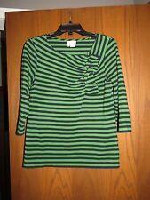 Kate Spade Navy Blue & Kelly Green Striped Stretch Knit Offset Ruffle Top M