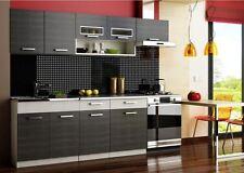 Küchenzeile Moreno 240cm Küchenblock Einbauküche Küche  BLACK/GREY