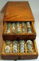 VINTAGE WOOD CASE FULL OF NUMBERED GLASS WATCH CRYSTALS ***WOW***