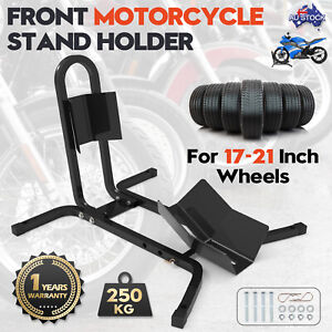 """Motorcycle Motorbike Stand Front Wheel 17""""-21"""" Metal Support Chock Holder Brace"""