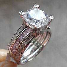Band Engagement Ring Set Size 11 Round Pink Sapphire 925 Sterling Silver Wedding