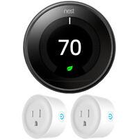 Google Nest Learning Thermostat 3rd Gen Mirror Black Bundle w 2x WiFi Smart Plug