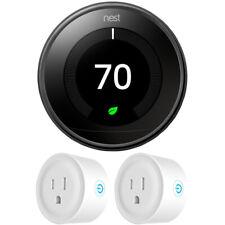 Nest Termostato 3rd generación de aprendizaje, Espejo Negro Paquete con 2x Wifi Smart Plug