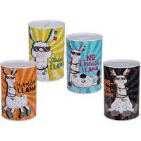 "4x Metall-Spardose Spar-Dose Money Box ""Llama"" ca. 15 x 10 cm 4 Designs am Lager"
