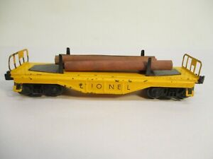 Lionel 6111 Flatcar with Logs Yellow Non Serifed Postwar O Gauge X4617