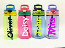 Personalised Custom Kids Children Water Bottle Flip Straw Boys Girls Comic Name