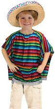 Girls Boys Kids Rainbow Mexican Bandit Poncho Fancy Dress Outfit Accessory