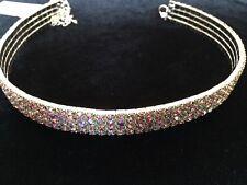 4 Row Stretch Crystal AB Rhinestone Necklace (J-17))