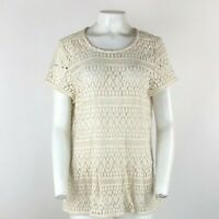 Sundance Catalog Sz L Crochet Tunic Top Cream 100% Cotton Open Knit Pullover  AR