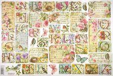 Rice Paper -Flowers ABC- for Decoupage Decopatch Scrapbook Craft Sheet