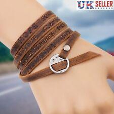 Leather Strap Bracelet, Lace, Band, Brown, Rock, Punk, Bohemian, Love, Peace -UK