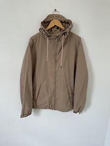 Fat Face Beige Coat Full Zip Hooded Size Large