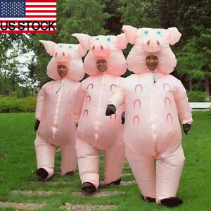 Inflatable Pink Pig Costume Suit Adult Blow Up Halloween Cosplay Fancy Dress NEW