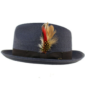 Men's Light Removable Feather Derby Fedora Trilby Wide Curled Brim Hat