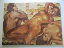 ERICH LASSE OIL PAINTING ANTIQUE GERMAN EXPRESSIONIST NUDE WOMEN SUN BATHING SEA