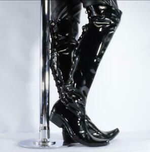 Men Motor Biker Leather Dancing Riding Over Knee Thigh High Boot Clubparty Shoes