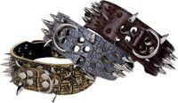 SHARP RAZOR Metal Spikes Studded Rivets PU Leather Dog Collar Black Grey Brown L