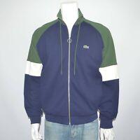 NWT LACOSTE Full Zip Stand Neck Colorblock Pique Fleece Sweatshirt Jacket Sz L 5