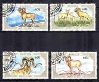 Animaux Faune sauvage Mongolie (7) série complète 4 timbres oblitérés