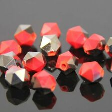 12 Pcs Swaro-element  6mm split facet Crystal beads E RED+black Plated N01