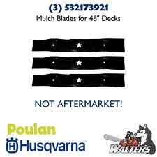 """(3) Genuine Husqvarna 532173921 Mulch Blades for 48"""" Deck (NOT AFTERMARKET)"""