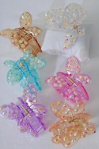 """Transparent Butterfly Jaw Clip with Rhinestones - Size: 2.5"""" x 2"""" - Medium"""