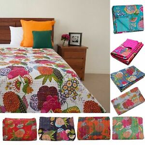 INDIAN HANDMADE COTTON FLORAL&FRUITS PRINT KANTHA QUILT THROW REVERSIBLE BLANKET