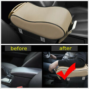 Universal Car Center Console Arm Rest Cover Pad PU Leather Armrest Mat Beige x1