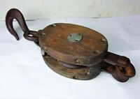 Antique Vintage Large Wooden Single Block Barn Pulley w/ Iron Hook Steampunk