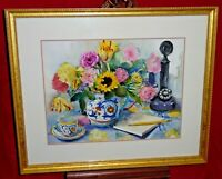Framed Watercolor Painting -Still Life Flowers Italian Pottery Candlestick Phone
