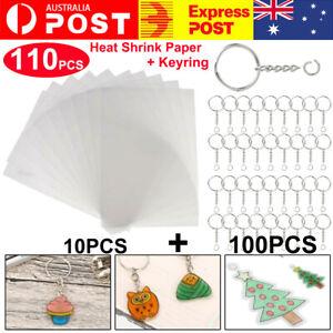 10x Heat Shrink Paper Film Sheets + 100x Keyring w Chain for DIY Pendants Making