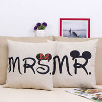 Cotton Mickey Minnie Mouse Mr&Mrs Couple Wedding Gift Pillow Case Cushion Covers